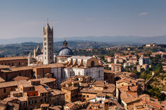 Aerial View on Siena and Santa Maria Cathedral, Tuscany Stock Images