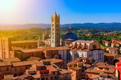 Aerial view of Siena and Siena Duomo in Siena, Tuscany royalty free stock photos