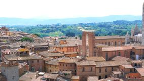 Aerial view of Siena, the tuscan hill town in Tuscany with the Romanesque Gothic Siena Cathedral. In Italy stock footage