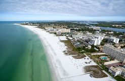 Fly over beach in Siesta Key, Florida. Aerial view of the Siesta Key beach with the most white and clean sand, Florida Stock Photography