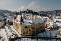 Aerial view of Sighișoara Royalty Free Stock Photography