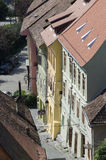 Aerial view of Sighisoara, Romania Stock Photography