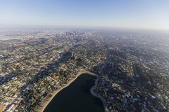 Silver Lake Aerial Los Angeles California royalty free stock photography