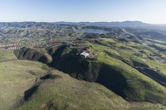Aerial View Simi Valley and Ronald Reagan Presidential Library. Aerial view of Simi Valley ranch lands and the Ronald Reagan Presidential Library in Ventura Stock Image