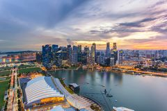 Aerial view of Singapore business district and city at twilight. In Singapore Stock Images