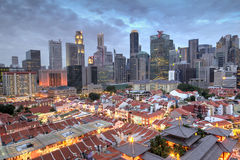 Aerial View of Singapore Chinatown With City Skyline at Sunset Stock Image