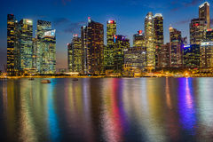 Aerial view of Singapore city skyline in sunrise or sunset. Singapore,Singapore - September 23, 2016 : Aerial view of Singapore city skyline in sunrise or sunset Royalty Free Stock Photo