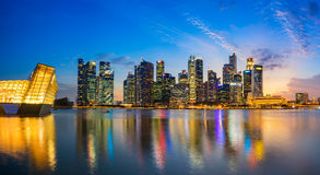 Aerial view of Singapore city skyline in sunrise or sunset. Singapore,Singapore - September 23, 2016 : Aerial view of Singapore city skyline in sunrise or sunset Royalty Free Stock Images