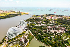 An aerial view of Singapore from the ferris wheel near the Marin. SINGAPORE, SINGAPORE - JANUARY 15, 2015 - An aerial view of Singapore from the ferris wheel stock photography