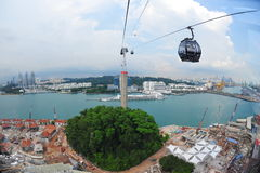 Aerial view of Singapore Harbor Front and Sentosa Stock Images