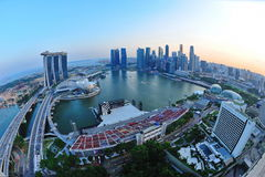 Aerial view of Singapore Marina Bay. Area with its financial and tourism district, including its latest Marina Bay Sands Integrated Resort on July 09, 2011 in Royalty Free Stock Photo