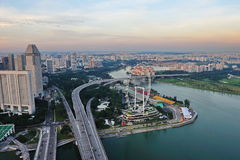 Aerial view of Singapore Marina Bay and Flyer Royalty Free Stock Photography