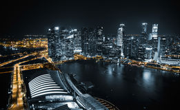 Aerial view of Singapore at night Stock Photography