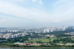 Aerial view of singapore residential and industrial districts. During day near the ocean royalty free stock image