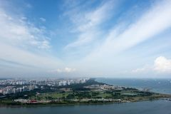 Aerial view of singapore residential and industrial districts. During day near the ocean royalty free stock photo