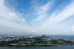 Aerial view of singapore residential and industrial districts. During day near the ocean stock photos