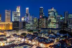Aerial View of Singapore's Chinatown and Skyline at Dusk Stock Photo