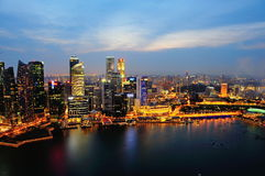 Aerial view of Singapore's financial district Stock Photos