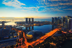 Aerial view of Singapore skyline business district and cityscape Royalty Free Stock Photography