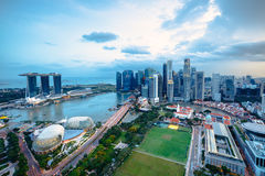 Aerial view Singapore skyline Stock Photography