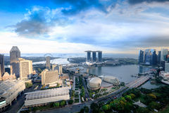 Aerial view Singapore skyline Stock Photo