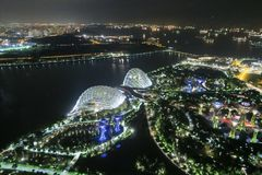 Aerial view of Singapore Skyline at night. In Asia Stock Image