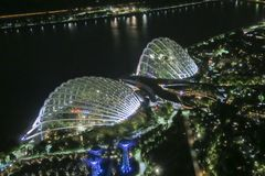 Aerial view of Singapore Skyline at night. In Asia Royalty Free Stock Images