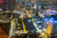 Aerial view of Singapore Skyline at night. In Asia Royalty Free Stock Image