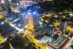Aerial view of Singapore Skyline at night. In Asia Royalty Free Stock Photo