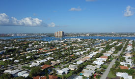 Singer Island, Florida. Aerial view of Singer Island and the Blue Heron Bridge connecting it to the mainland, near West Palm Beach stock photography