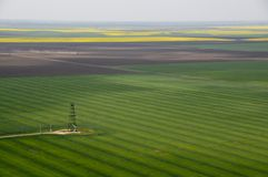 Aerial view of single oil well in green field. Aerial view of single oil well in green crops and yellow rapeseed fields Stock Image