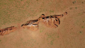 Aerial view of a sinkhole - South Africa stock footage