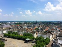 Aerial view from Sint Janskerk tower St.John Church on the cityscape of Maastricht, Netherlands stock image