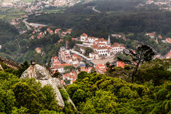Aerial View on Sintra National Palace from Murish Castle stock photography