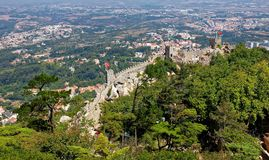 Aerial view of Sintra in Portugal with Castle of the Moors ( Castelo dos Mouros ) in foreground. Aerial view of Sintra in Portugal, Castle of the Moors Stock Photo