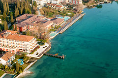 Aerial view of sirmione, lake garda, italy. Royalty Free Stock Images