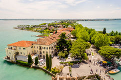 Aerial View of Sirmione from the Scaliger Castle, Italy Royalty Free Stock Photos
