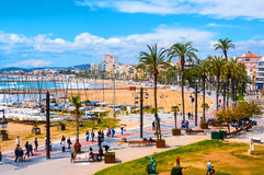 Aerial view of Sitges, Spain beach Stock Photography