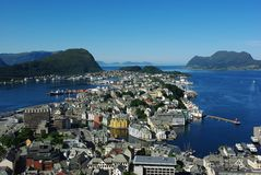 Aerial view of the sity Alesund, Norway. Aerial view from the mountain Aksla at the Alesund, Norway Royalty Free Stock Photography