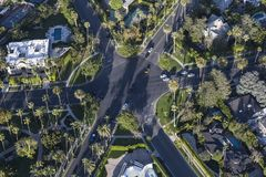 Beverly Hills Aerial Six Way Intersection Royalty Free Stock Photo