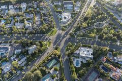 Beverly Hills Six Way Intersection Aerial Royalty Free Stock Photos