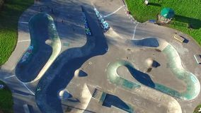 Aerial view, skatepark urban city landscape, Kingston Upon Hull. Aerial view, skatepark urban landscape, city of Kingston Upon Hull, yorkshire stock video footage