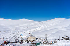 Aerial View of Ski Resort Falakro, in Greece. Royalty Free Stock Photography