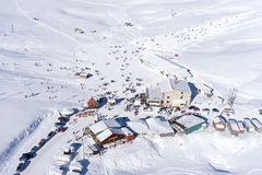 Aerial View of Ski Resort Royalty Free Stock Photos