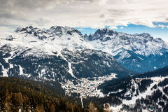 Aerial View on Ski Resort of Madonna di Campiglio, Italian Alps Stock Image