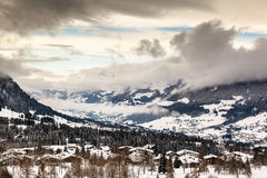 Aerial View on Ski Resort Megeve in French Alps Royalty Free Stock Images