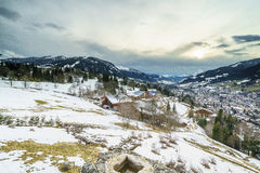 Aerial View on Ski Resort Megeve in French Alps Royalty Free Stock Photography