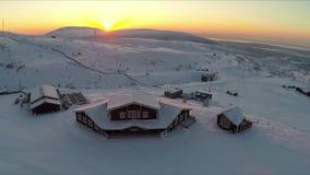 Aerial view of ski resort at sunset stock video