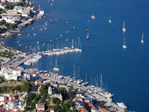 Aerial view of Skiathos port. Aerial view: port of Skiathos island, Greece stock photos