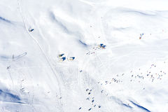 Aerial View of skiers at Ski Resort Falakro, in Greece. Aerial View of skiers at Ski Resort Falakro, in Greece Royalty Free Stock Photo